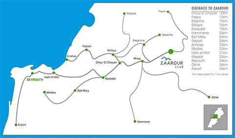 Zaarour Club map and directions