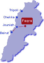 Faqra ski resort Lebanon map and driving direction