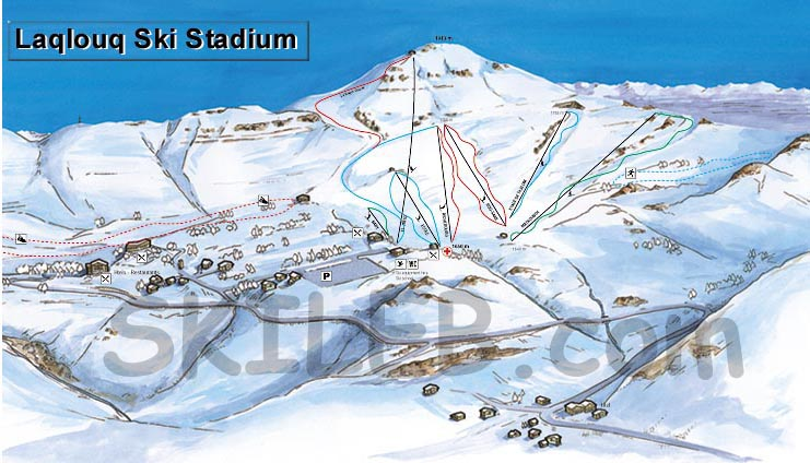 Laqlouq ski resort trail map by SKILEB.com