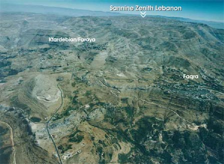 Location of Sannine Zenith ski resort in Lebanon